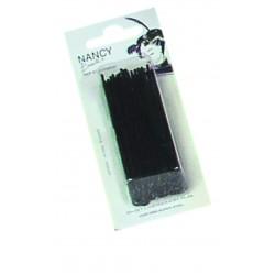 Pinces droites perlées Kifix noir (7cm) x40